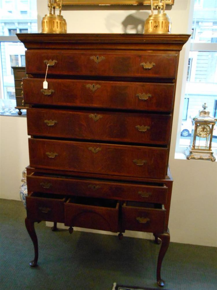Queen anne style mahogany flat top highboy sale number for Queen anne style