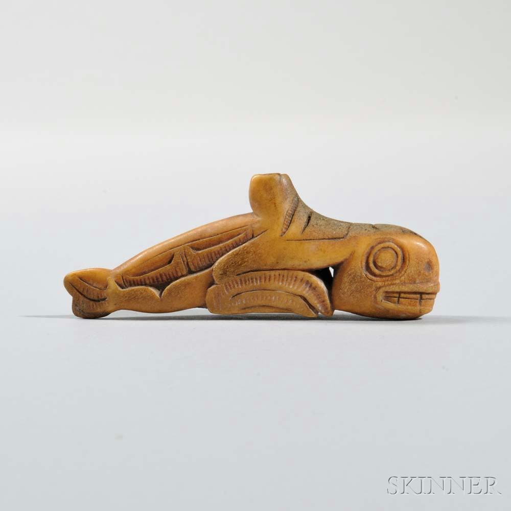 Tlingit Carved Antler Whale Amulet