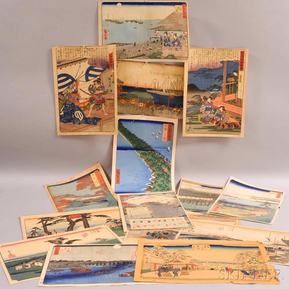 Fifteen Utagawa Hiroshige (1797-1865) Woodblock Prints