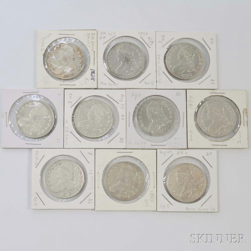 Ten Capped Bust Half Dollars