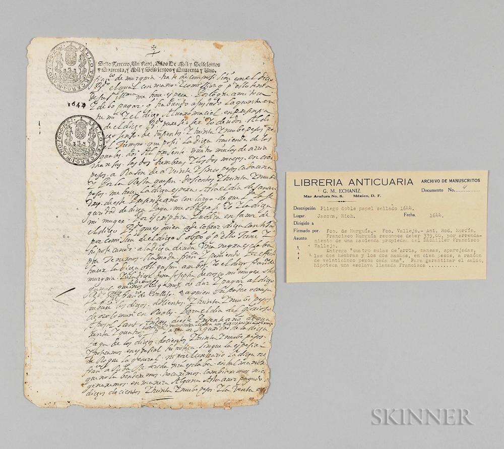 Spanish Document Discussing the Sale of a Female Slave