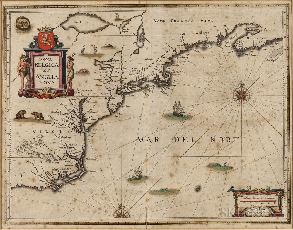 North America, East Coast, Maine to Virginia. Jan Janssonius (1588-1664) Nova Belgica et Anglia Nova.