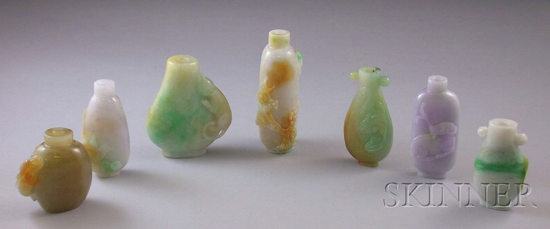 Seven Carved Asian Stone Snuff Bottles