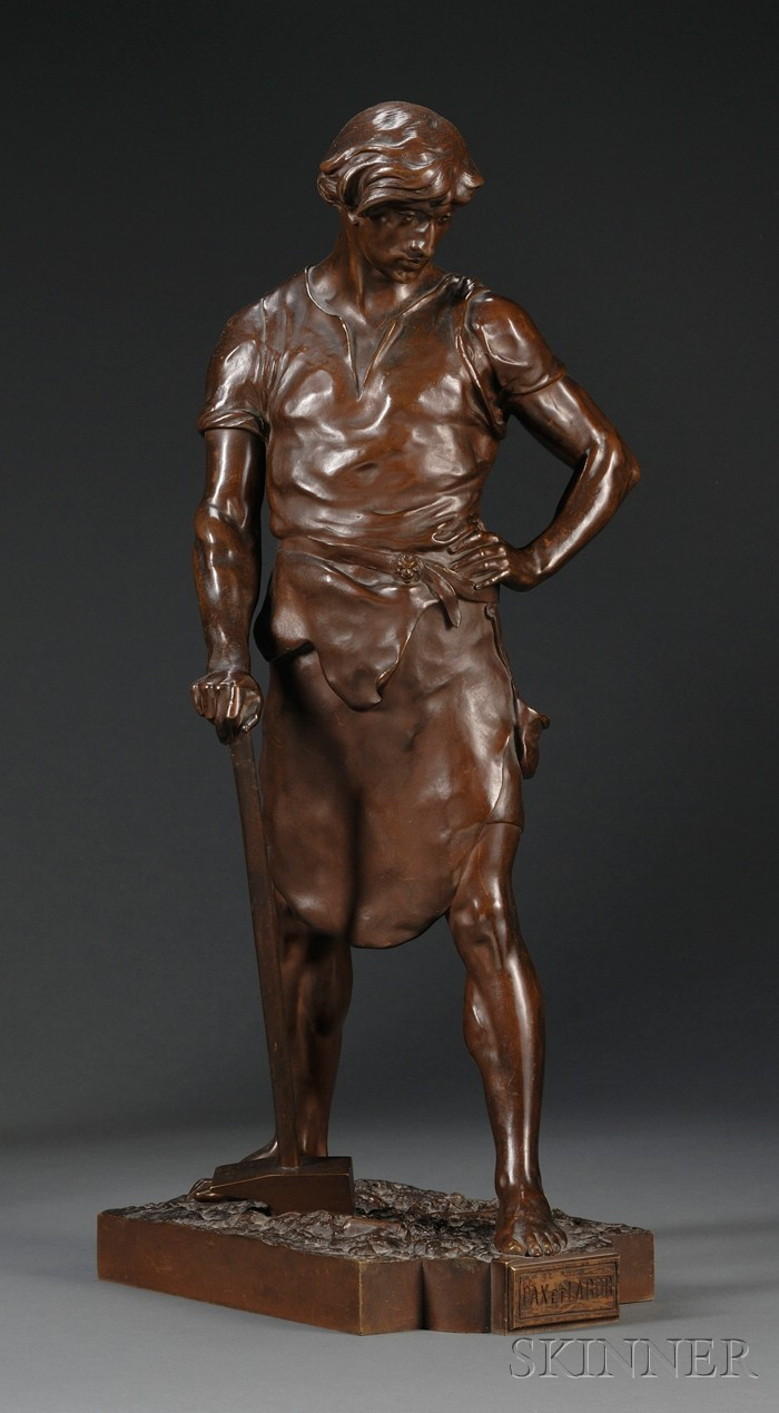 Emile-Louis Picault (French, 1833-1915),       Bronze Figure of a Worker, Pax et Labor