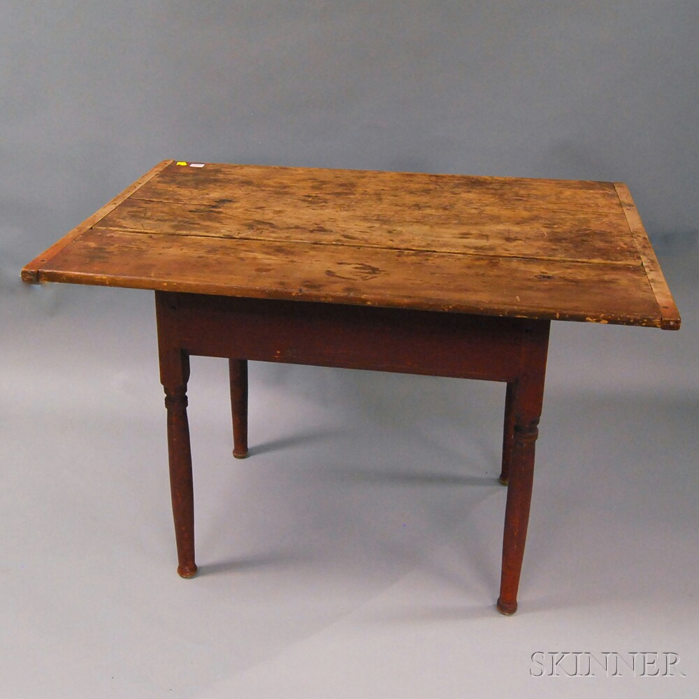 Red-painted Country Pine One-drawer Tavern TableRed-painted Country Pine...
