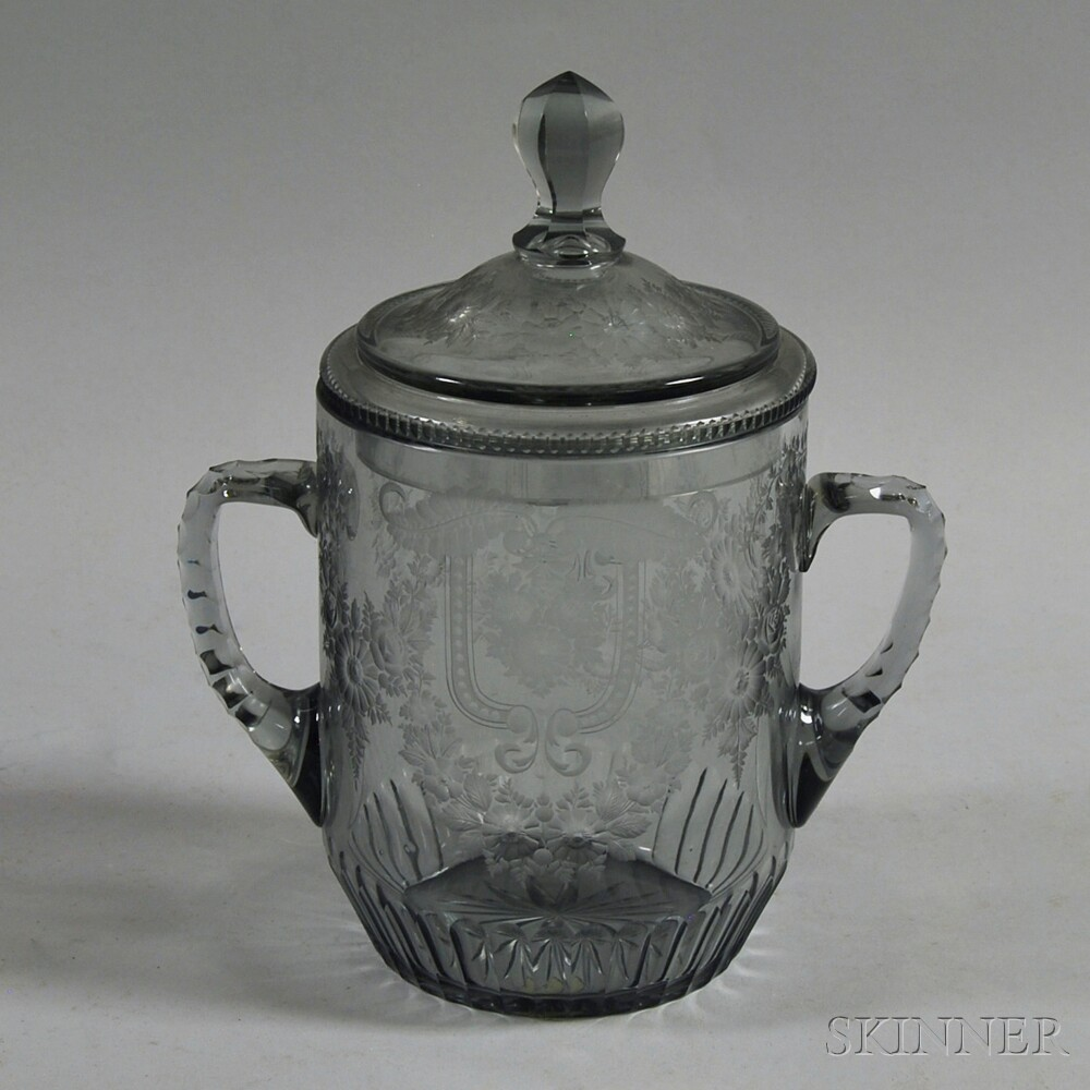 Wheel-etched Two-handled Covered Colorless Glass Jar