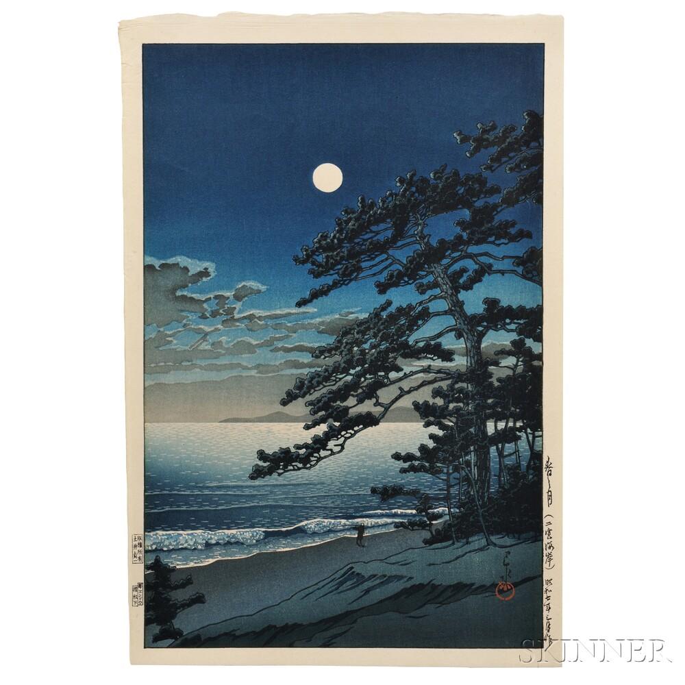Kawase Hasui (1883-1957), Spring Moon at Ninomiya Beach