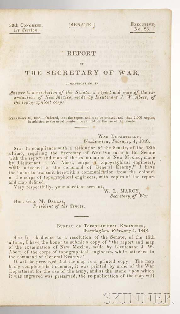 Abert, James W. (fl. circa 1850) Report of the Secretary of War, Communicating a Report and Map of the Examination of New Mexico.
