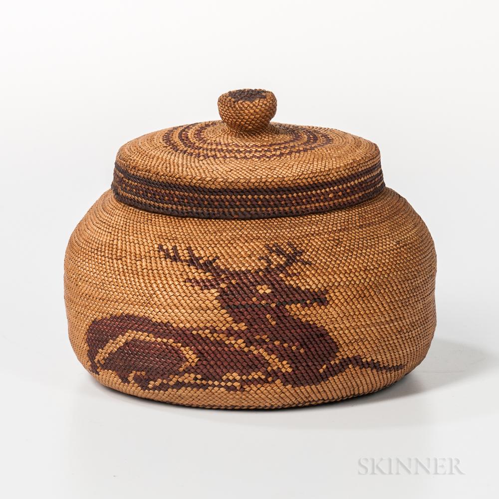 Makah Pictorial Lidded Basket