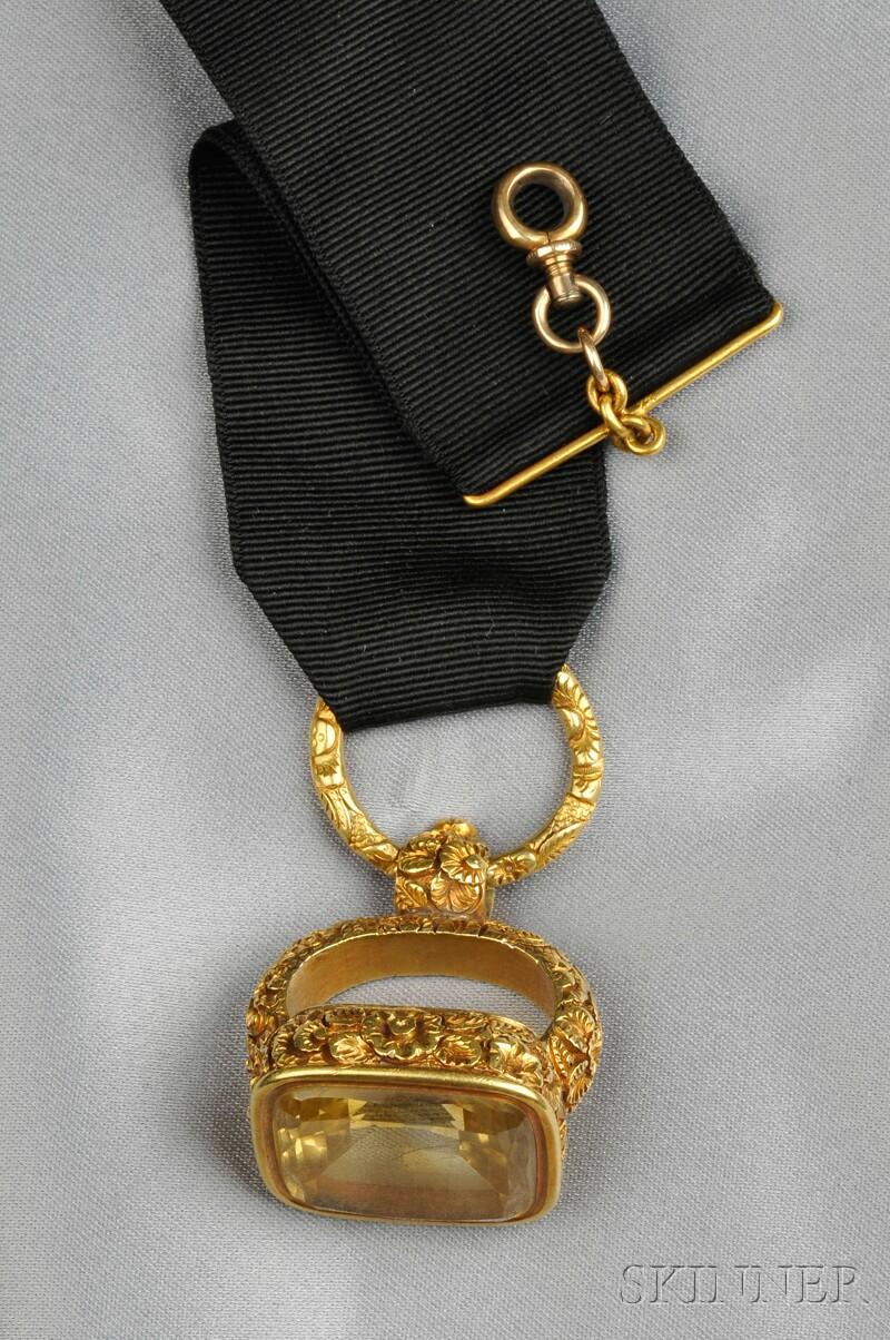 Late Georgian High-Karat Gold and Citrine Watch Fob