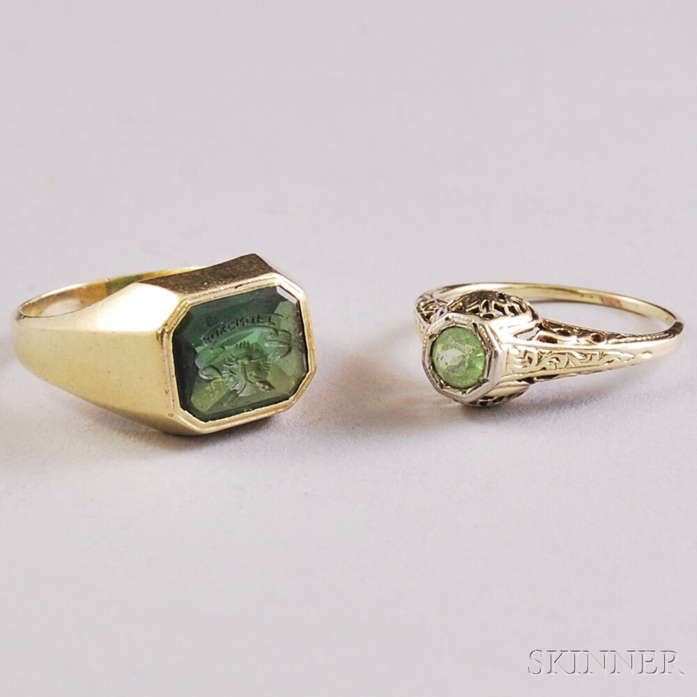 Two Gold and Green Gemstone Rings