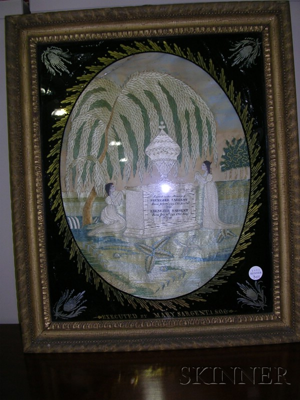 Silk Needlework Mourning Picture