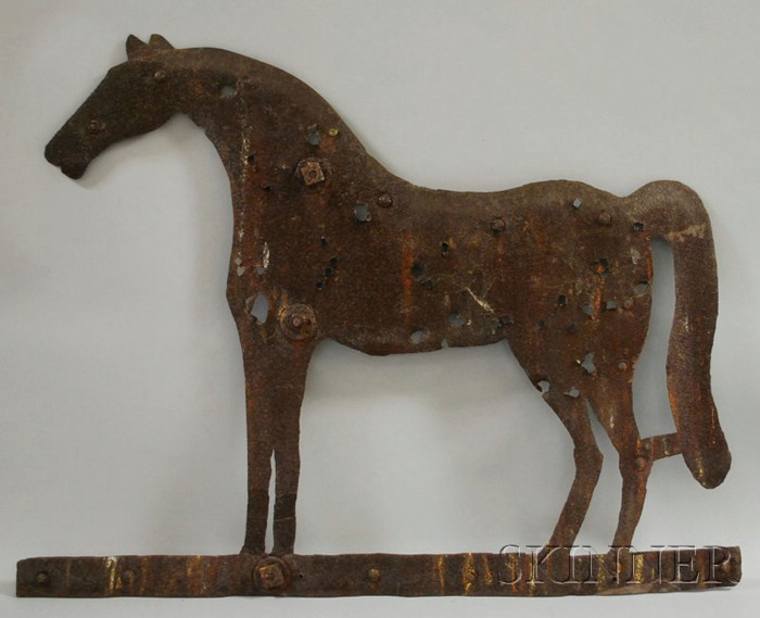 Cut Sheet Iron Standing Horse Weather Vane