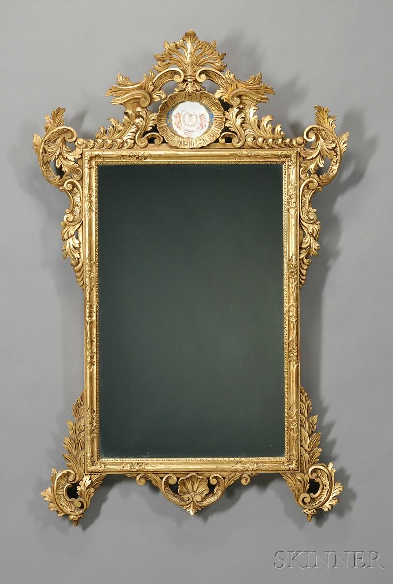 Sevres Porcelain-mounted Carved Giltwood Mirror
