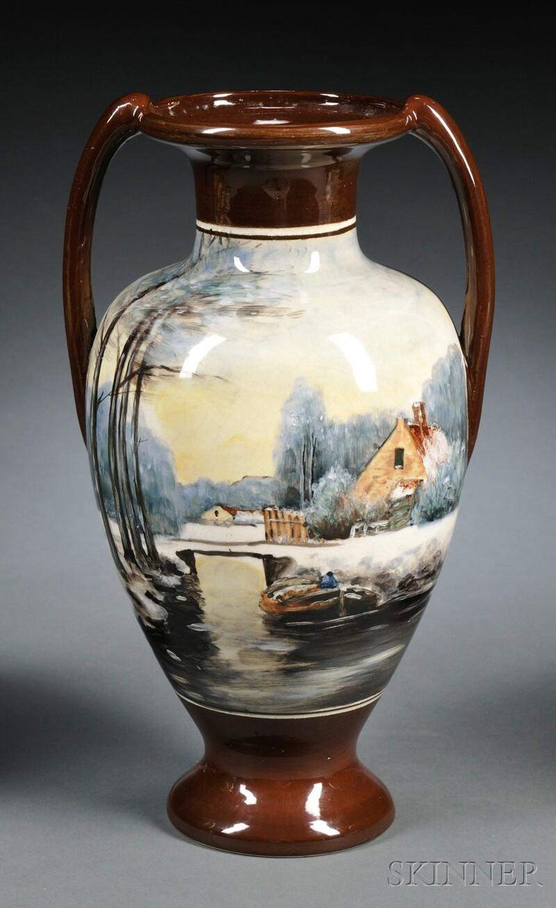 Zuid Holland Gouda Pottery High Glaze Double-handled Vase