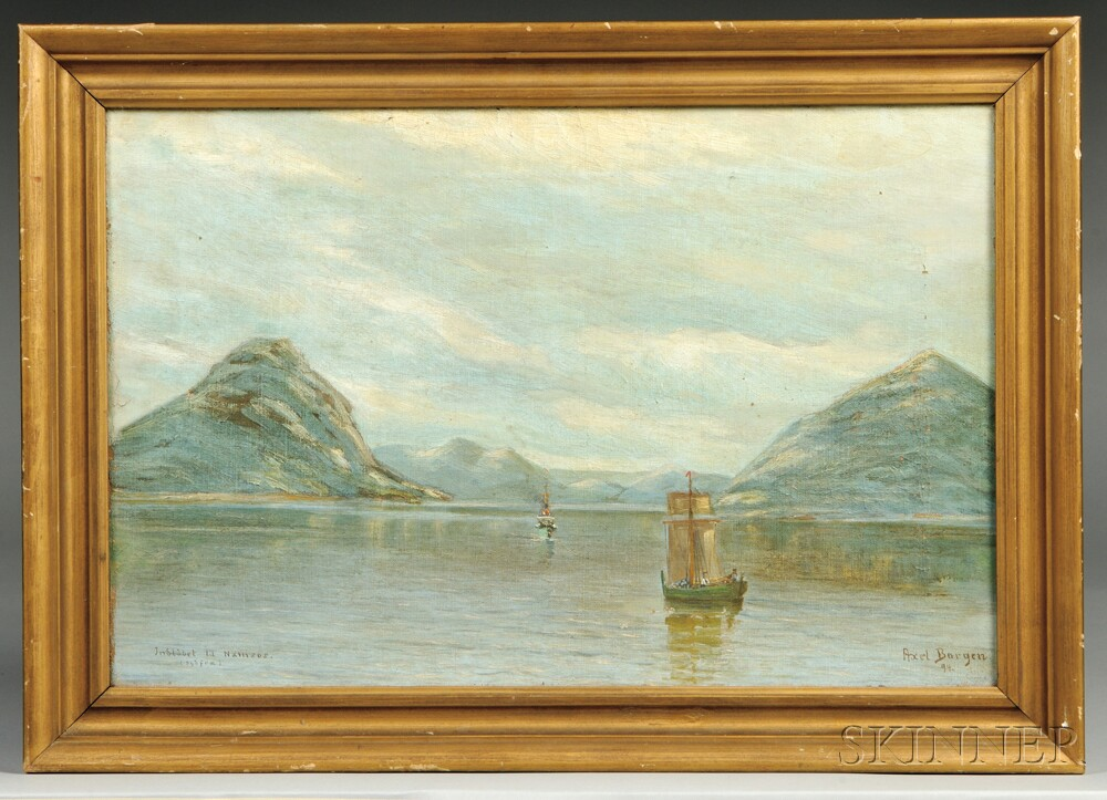 Axel Borgen (Norwegian, 19th/20th Century)      Namsos Bay View with Ships
