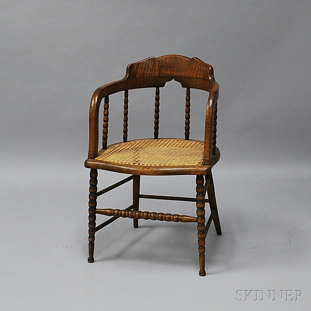 Caned Tiger Maple Armchair