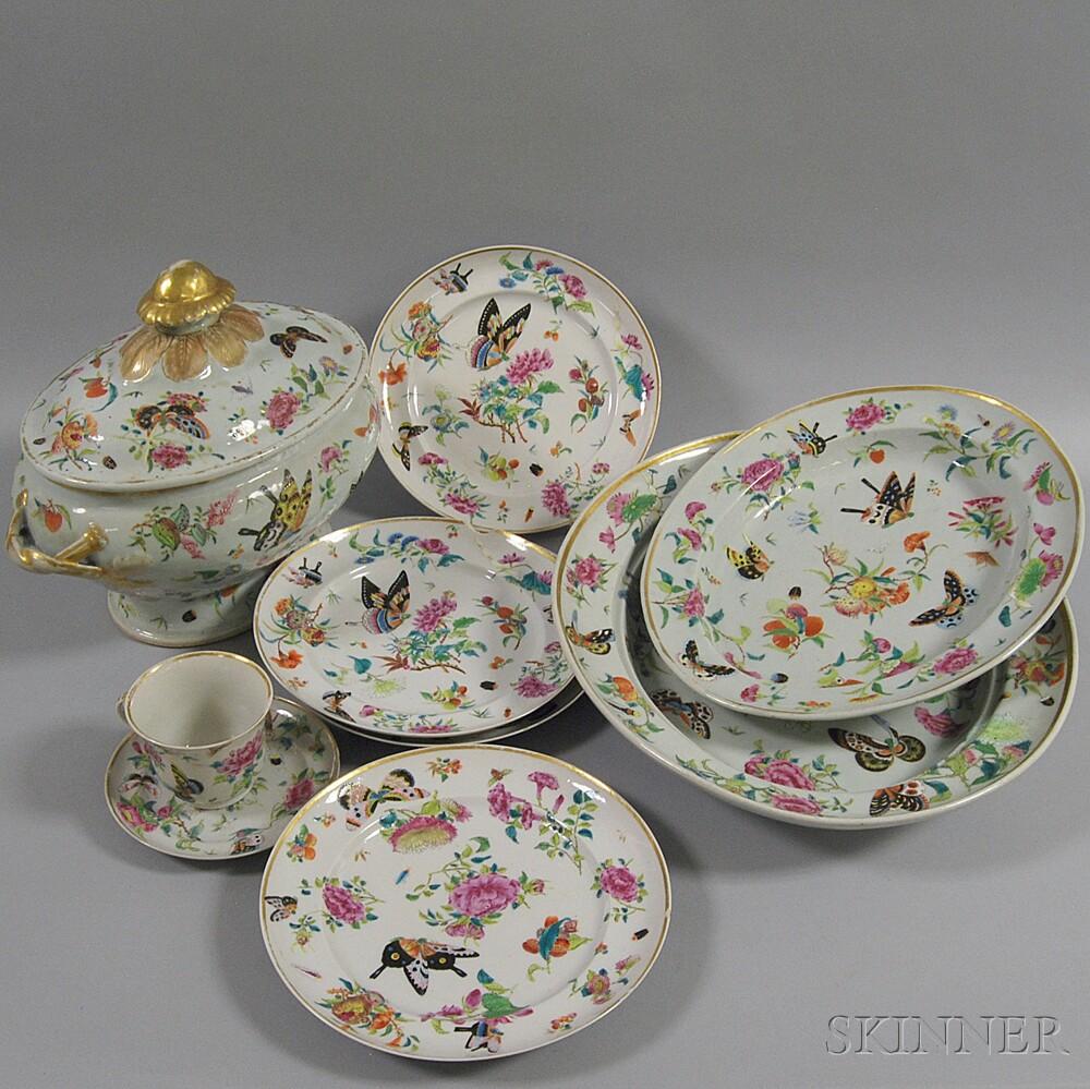 Nine Pieces of Rose Canton Porcelain