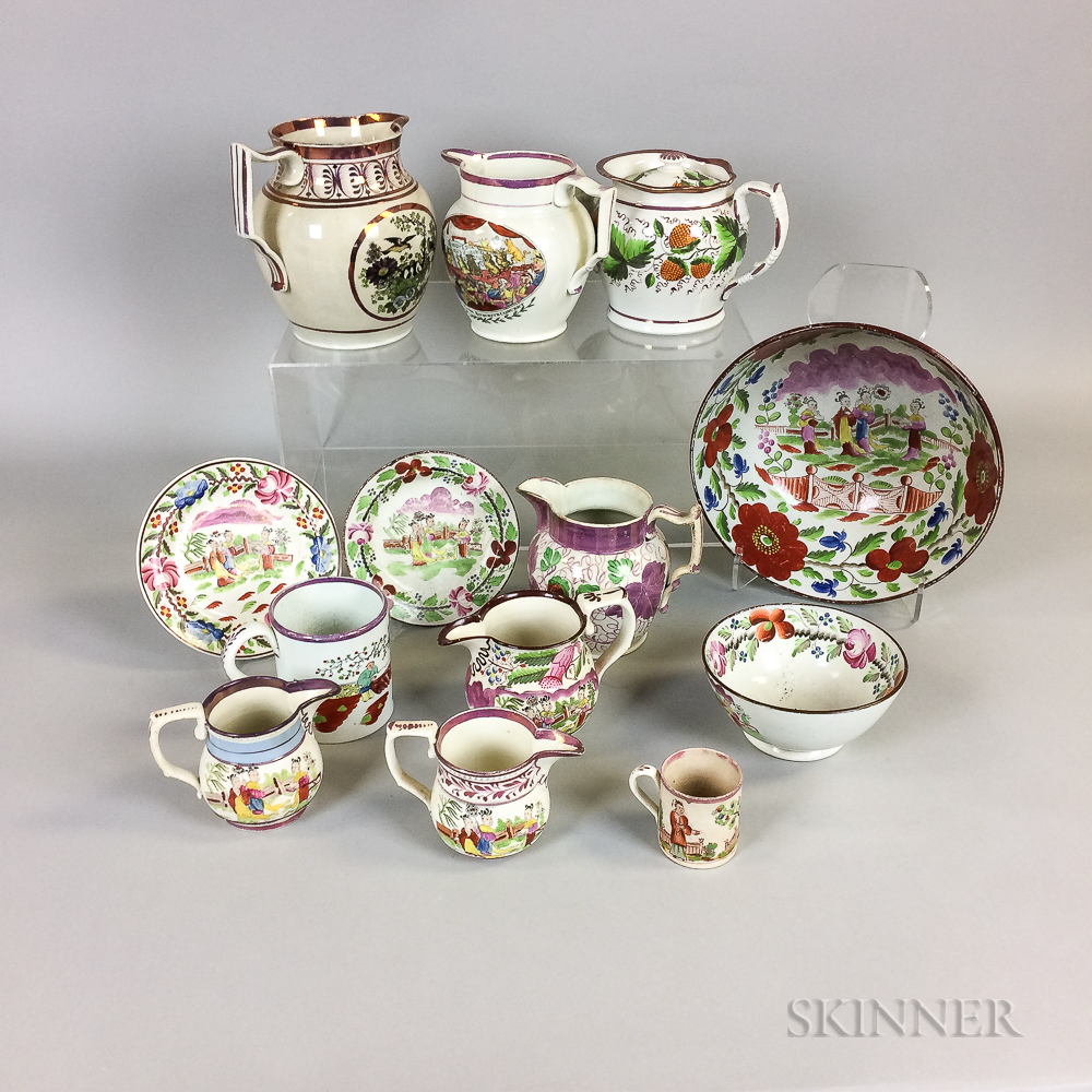 Thirteen Pink Lustre Ceramic Tableware Items