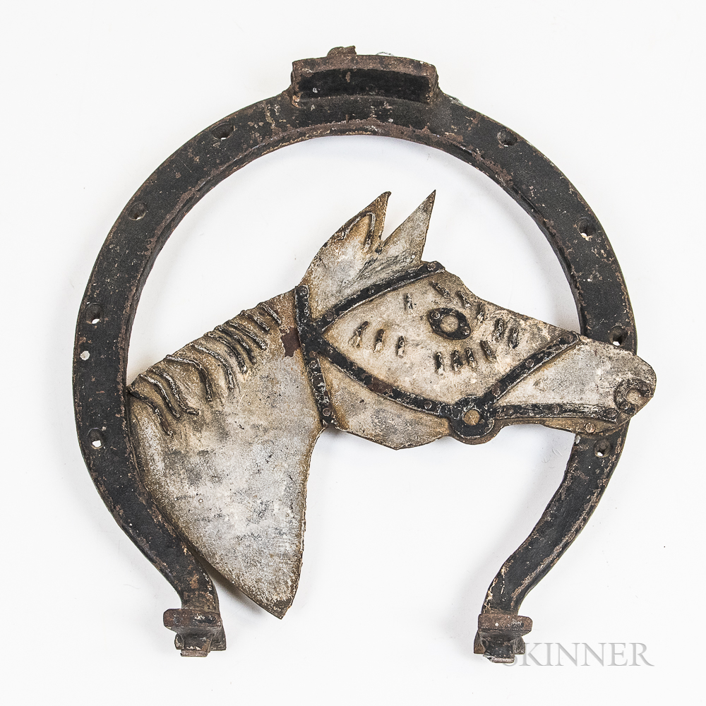 Polychrome Iron Horseshoe-form Blacksmith Trade Sign