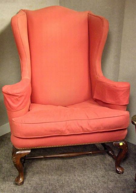 Red Upholstered Wing Chair.