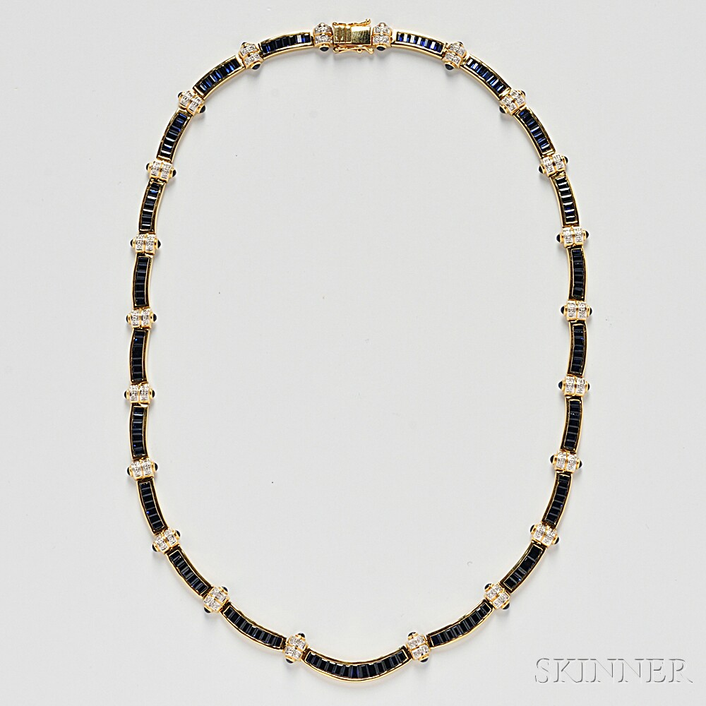 18kt Gold, Sapphire, and Diamond Necklace