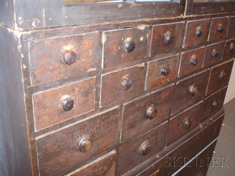 Grain-painted Glazed Twenty-Drawer Apothecary Cabinet