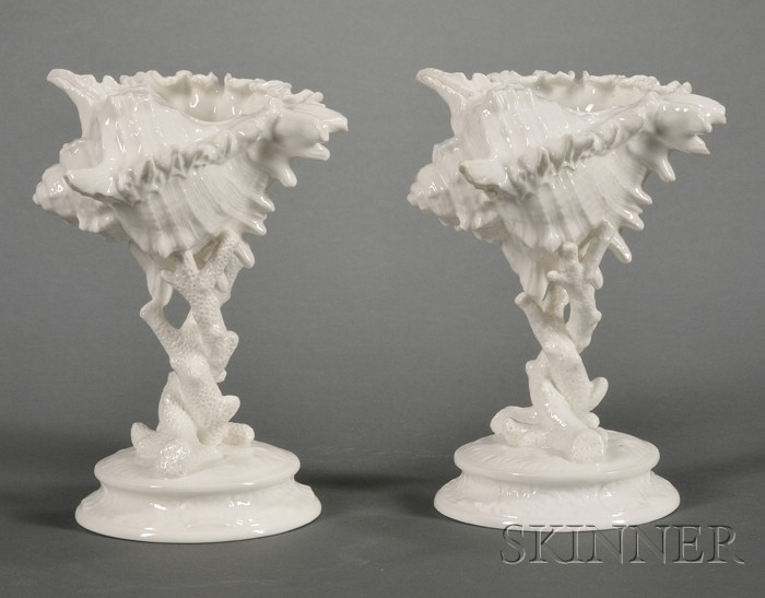 Two Wedgwood Bone China Shell Ornaments