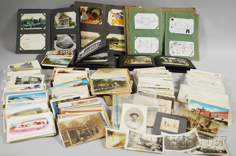 Collection of Late 19th and early 20th Century Postcards and Five Albums