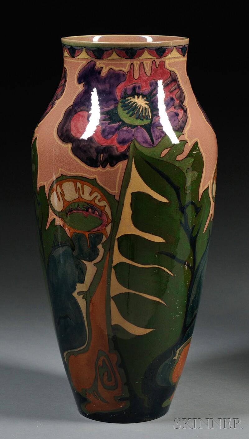 Zuid Holland Gouda Pottery High Glaze Floor Vase