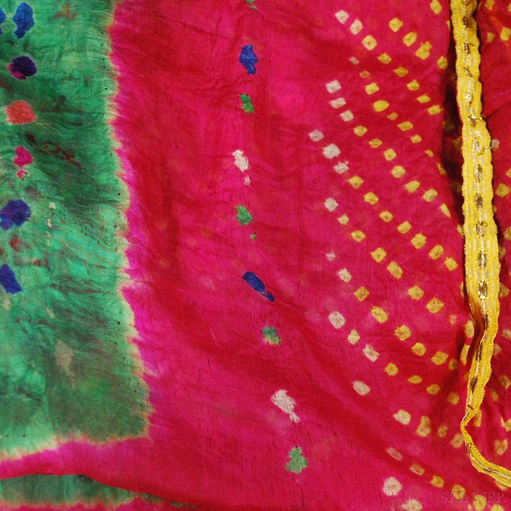 Five Multicolored Indian Silk Wraps