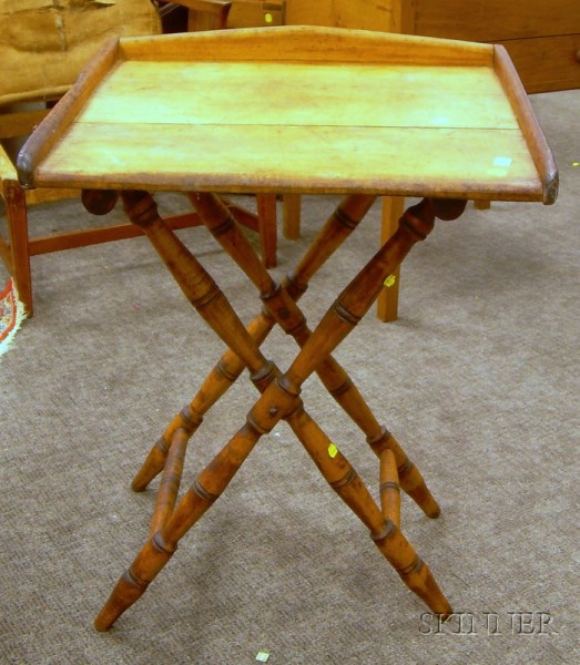 Pine and Maple Butlers Tray on Folding Stand.
