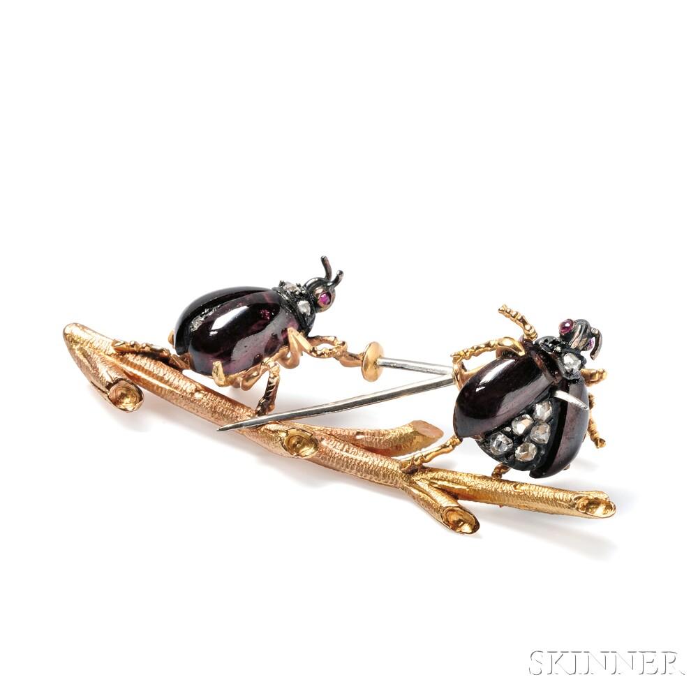 Whimsical Gold Gem-set Brooch