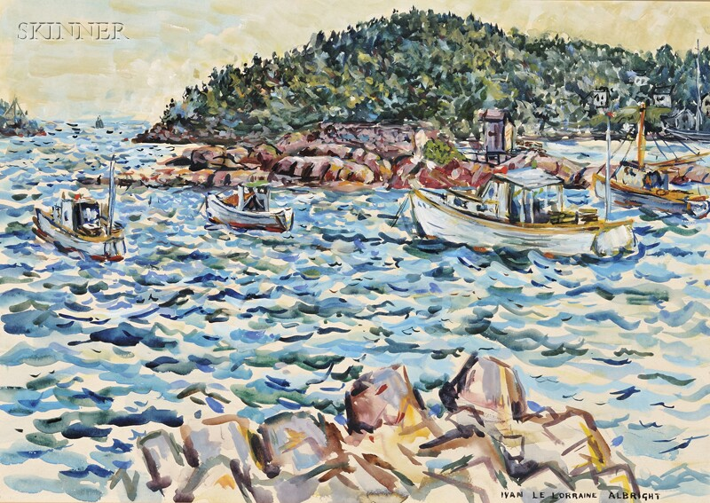 Two Works:      Ivan Le Lorraine Albright (American, 1897-1983), Fishing Boats by the Coast, Probably Deer Isle, Maine