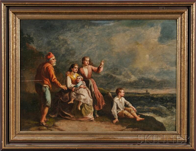 Vincenzo Giacomelli (Italian, 1841-1890)      Family Awaiting the Sailor's Return