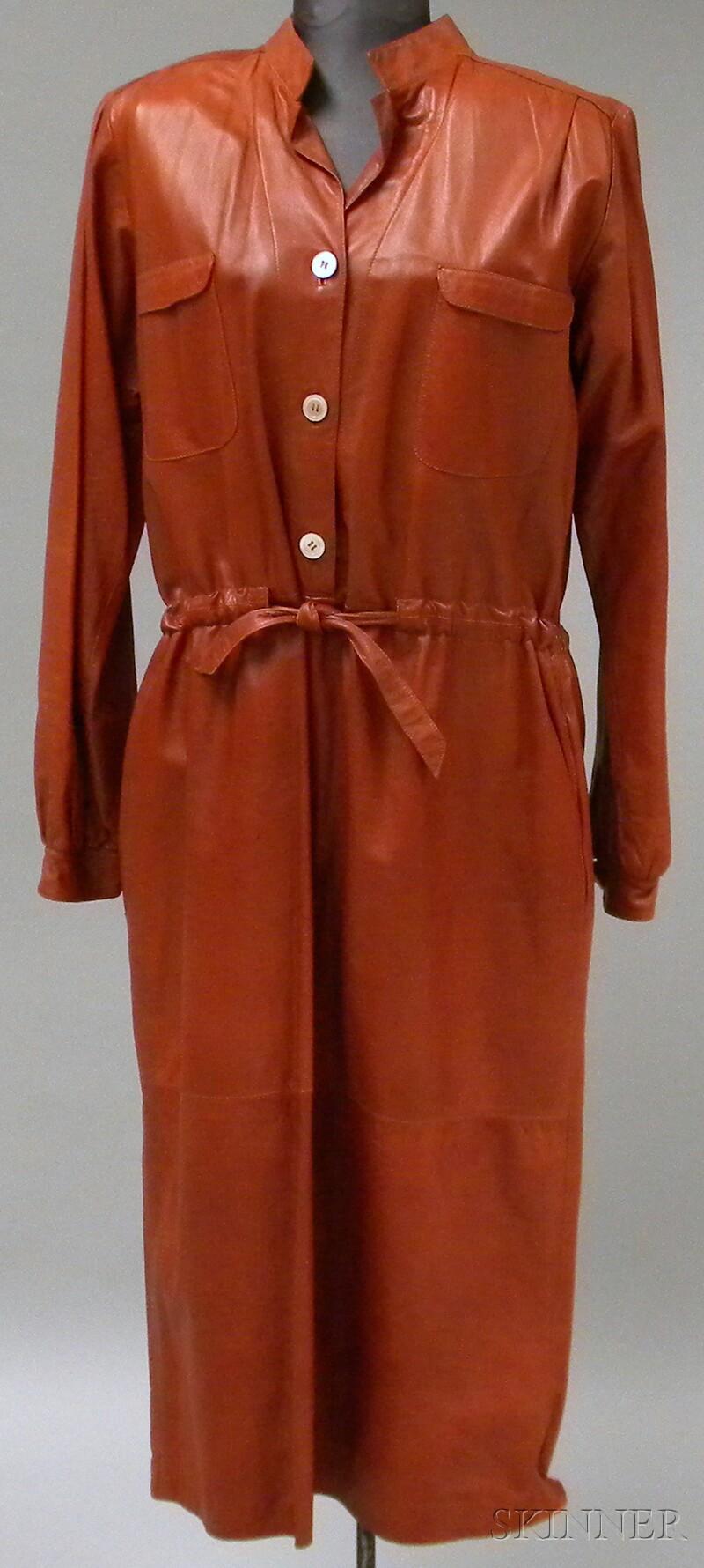 Vintage Italian Rust-colored Leather Dress