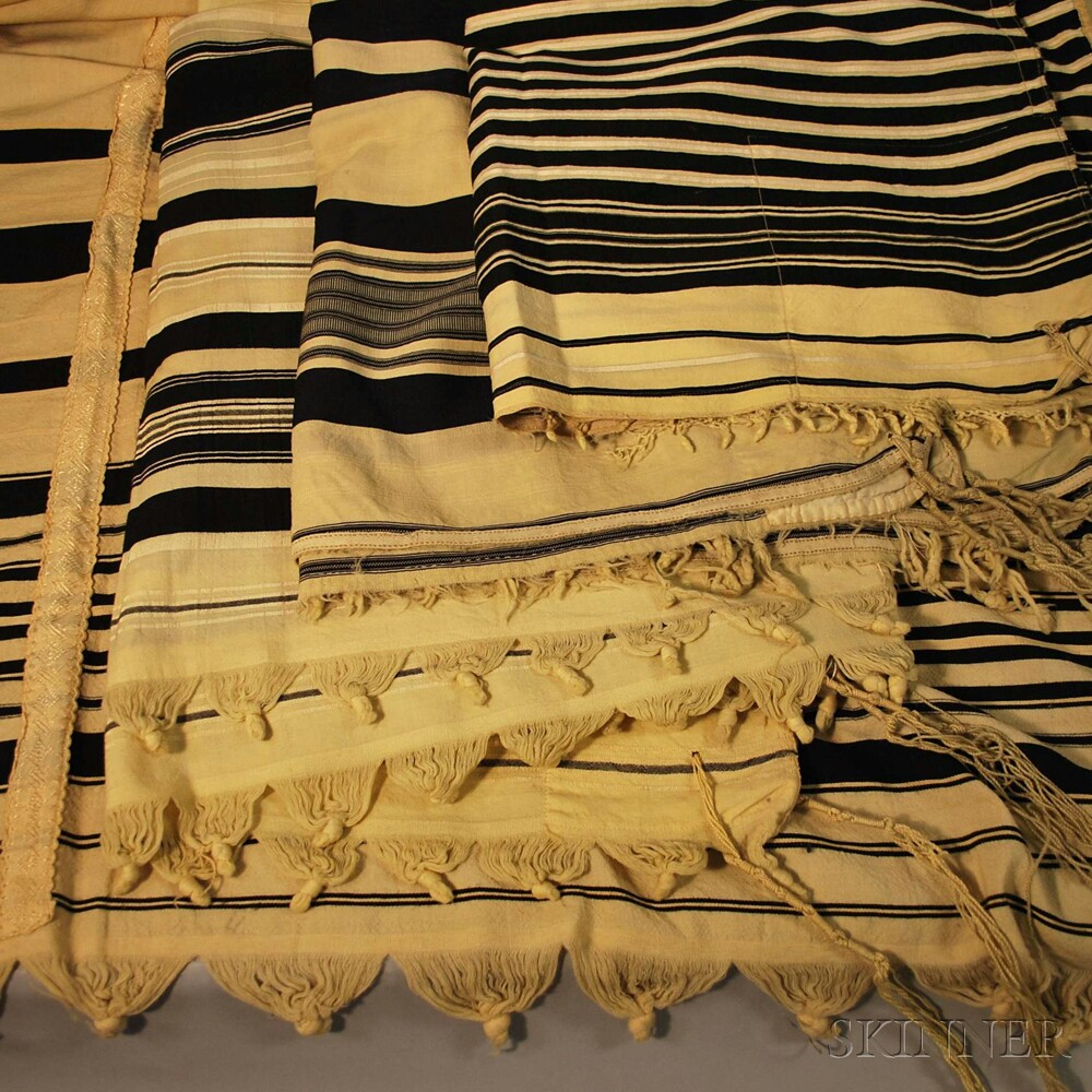 Four Cream-colored Wool Tallitot with Woven Black Stripes