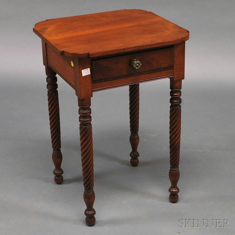 Classical One-drawer Cherry and Mahogany Veneer Worktable