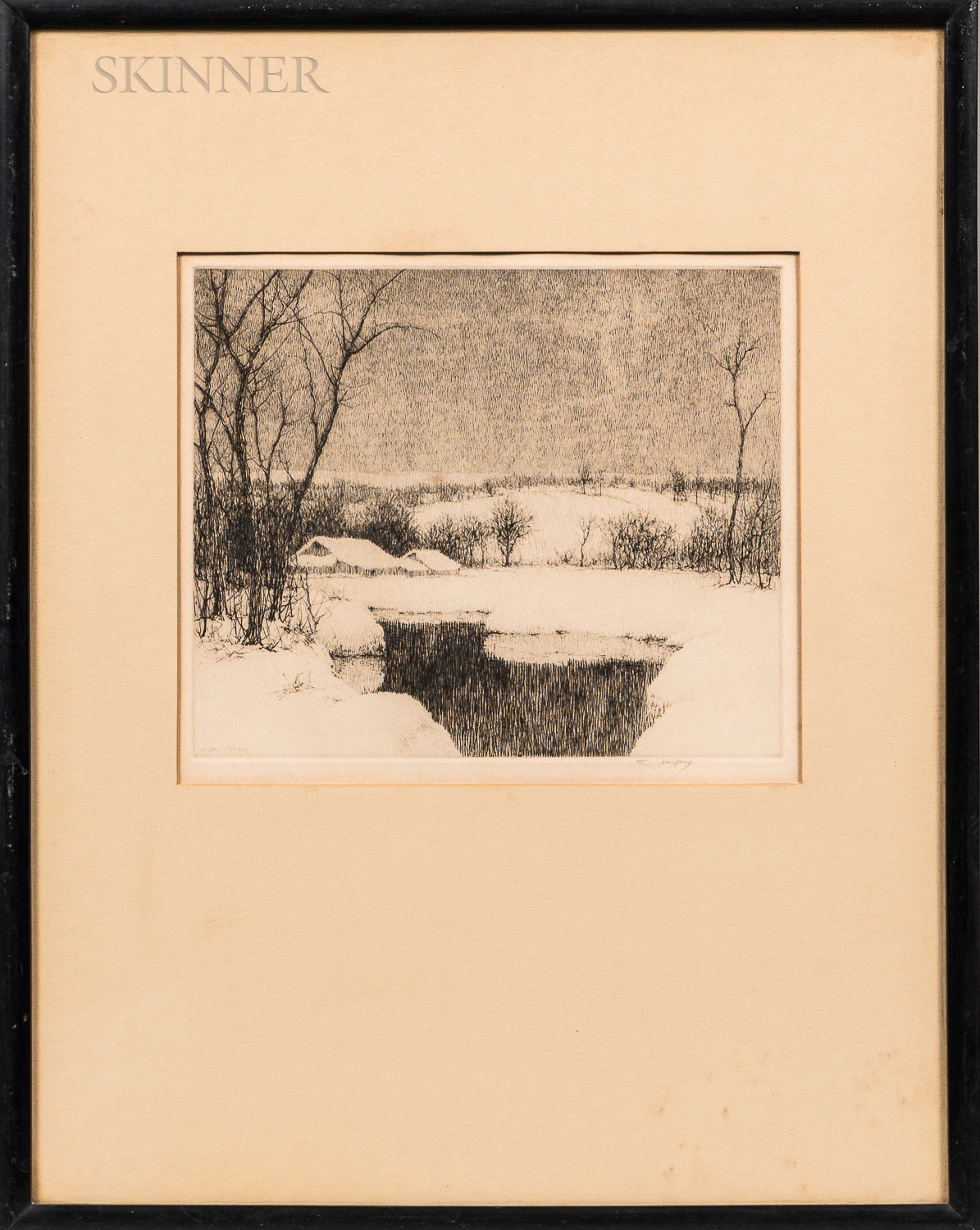 Three Framed Etchings:      Charles Jac Young (American, 1880-1940), Winter Stillness
