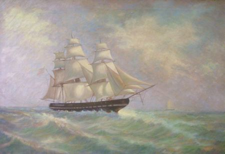 Framed Oil on Canvas of the USS Constitution   (Old Ironsides)