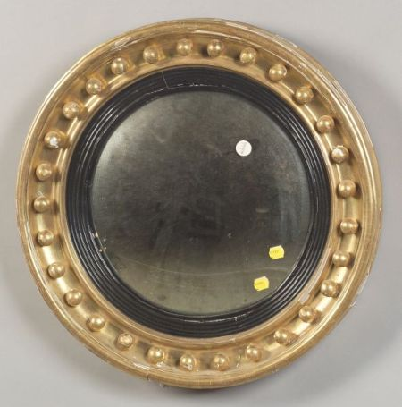 Regency Giltwood and Part Ebonized Convex Mirror