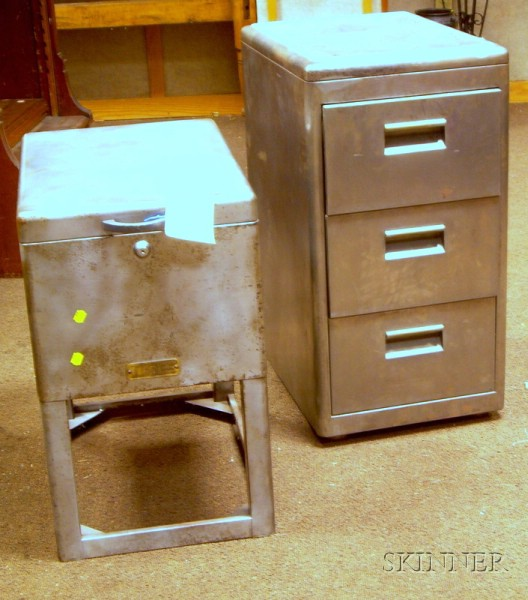 Two Mid-20th Century Industrial Steel Office Cabinets.