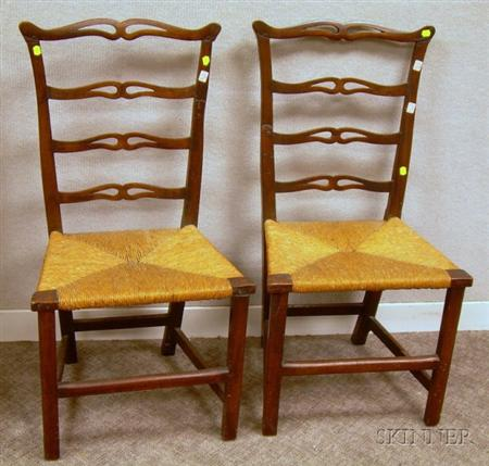 Pair of Country Chippendale Maple Ribbon-back Side Chairs with Woven Rush Seats.