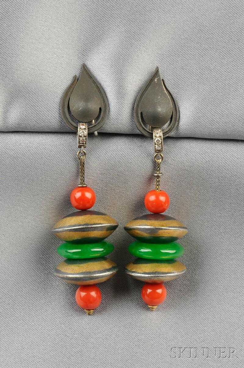 Jadeite and Coral Earpendants, Marsh's