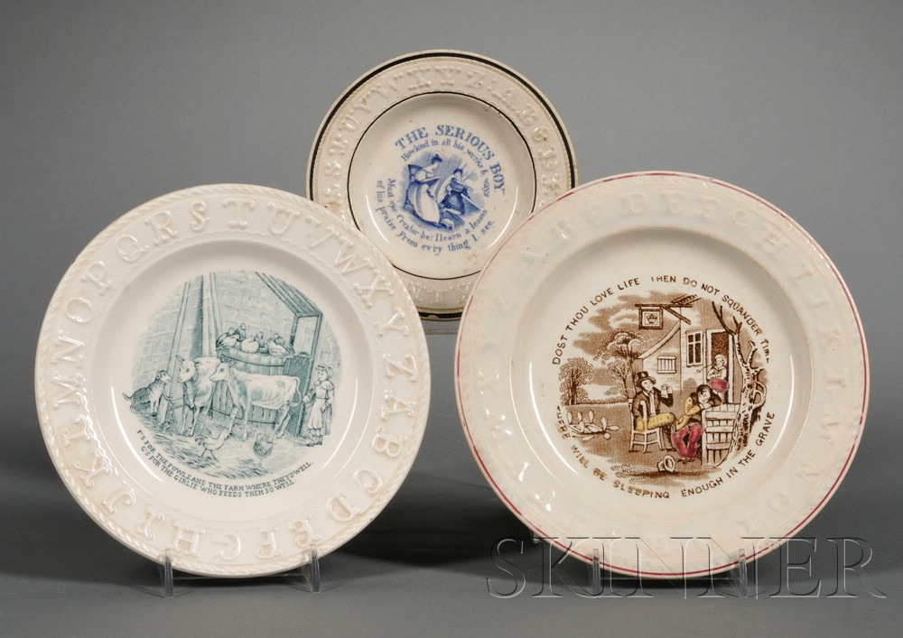 Three Transfer-decorated Staffordshire Pottery Children's ABC Plates