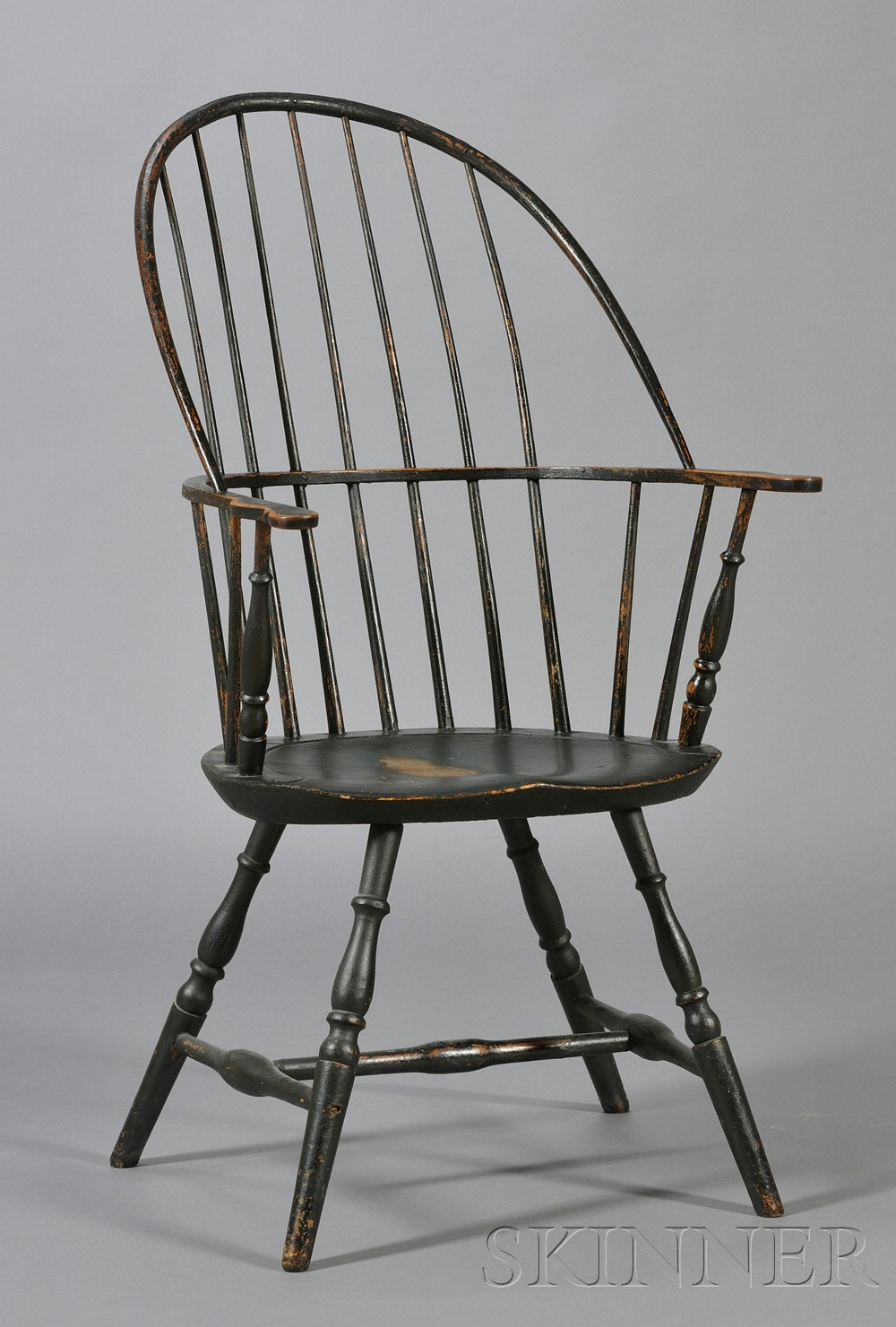 Green-painted Bowback Windsor Armchair