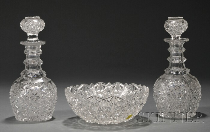 Set of Three Colorless Cut Glass Table Articles