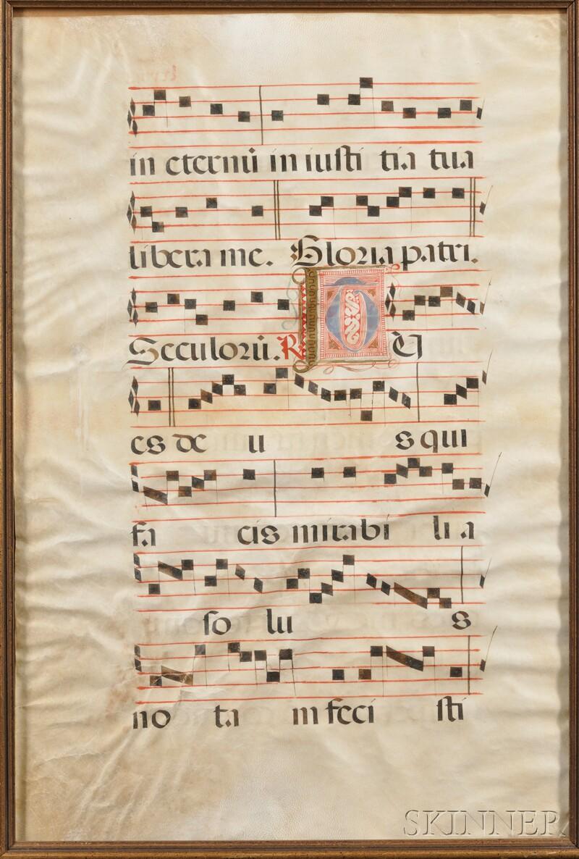 (Illuminated Manuscript Antiphonal Leaf), Spanish, 16th century