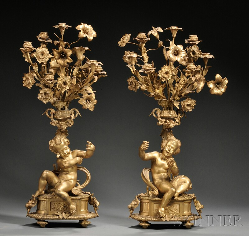 Pair of Dore Bronze Five-light Candelabra