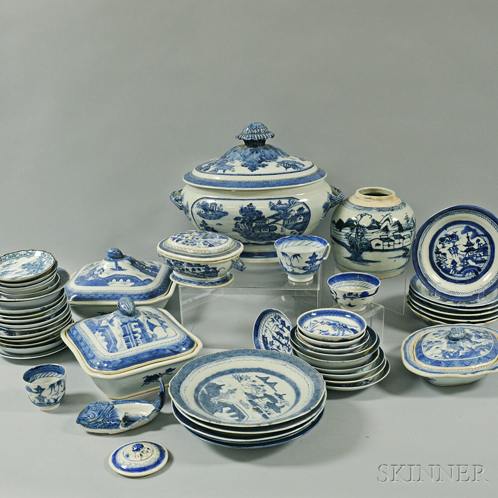 Large Group of Canton Porcelain Tableware ItemsLarge Group of Canton...